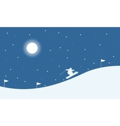 Christmas landscape people skiing on the hill vector