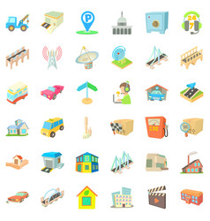City place icons set cartoon style vector