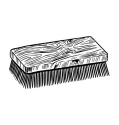 Cleaning brush for shoes or horse vintage label vector