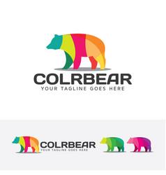 colorful bear logo design vector image