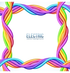 Colorful plastic twisted cables frame vector