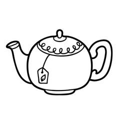 Coloring book teapot vector