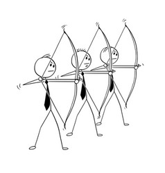 Conceptual cartoon of three businessmen with bow vector