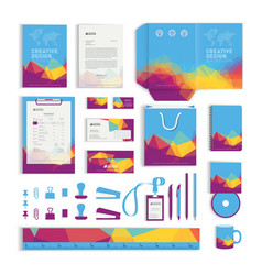 Corporate identity design template with colorful vector