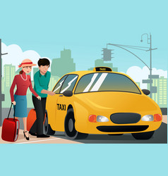 couple on vacation calling a taxi vector image