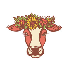 Cow head with flower wreath color vector