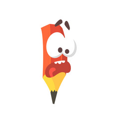cute cartoon frightened pencil comic character vector image