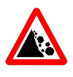 Danger falling rocks traffic sign isolated vector