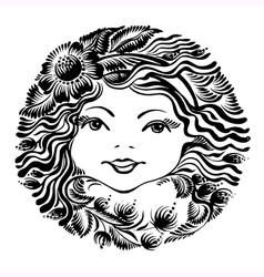 decorative floral silhouette of a woman face vector image