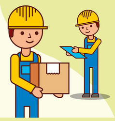 delivery men checking with a parcel and a vector image