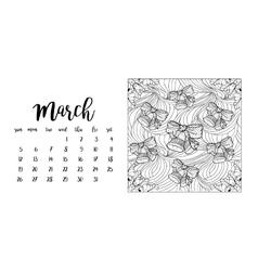 Desk calendar template for month March vector