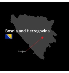Detailed map of Bosnia and Herzegovina and capital vector image