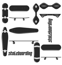 Different skateboard set black and white icon vector