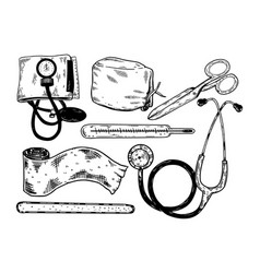 Doctor tools engraving vector