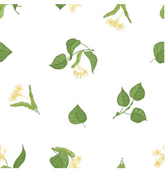Elegant seamless pattern with linden leaves vector