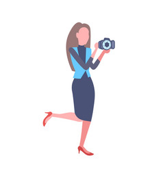 elegant woman photographer taking picture with vector image