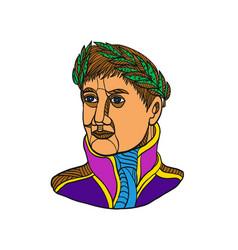 Emperor napoleon bonaparte mono line vector