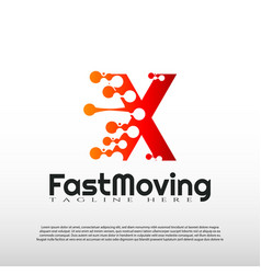 Fast moving logo with initial x letter concept vector
