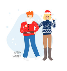Flat couple in ugly sweater vector