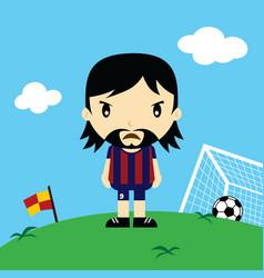 Funny cartoon soccer player league art vector