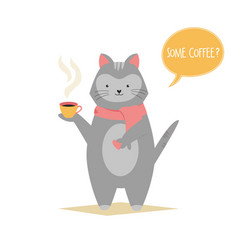 funny cat holding a cup coffee animal character vector image