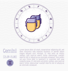 Gemini in zodiac wheel horoscope chart vector