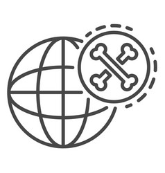 global bones atack icon outline style vector image