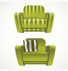 Green soft stripped armchair vector