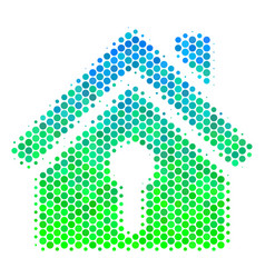 Halftone blue-green home keyhole icon vector