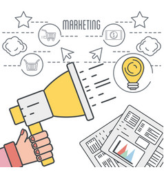 Hand with megaphone and digital corporate vector