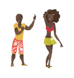 Hawaiian black couple dancing at beach party vector