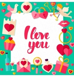 I Love You Day Paper Template vector image