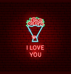I love you flowers neon label vector