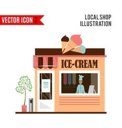 Ice cream detailed flat design cafe icon vector