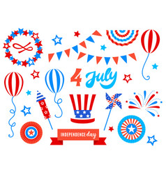 Independence day of america festive doodles set vector