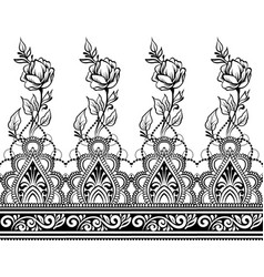 Indian line art seamless border with flowers vector