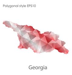 Isolated icon georgia map polygonal geometric vector