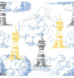 Lighthouse and blue clouds marine seamless pattern vector