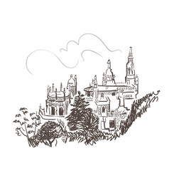 Line art isolated sintra portugal castle sketch vector