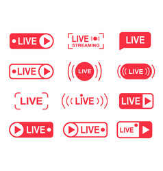 live stream buttons online streaming player vector image