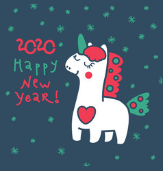 magic unicorn in winter for your design vector image
