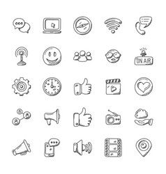 Media icons doodle collection vector