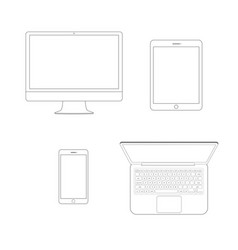 Mockup gadget and device outline icons set on the vector