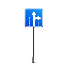 mockup road sign with turn arrow realistic vector image