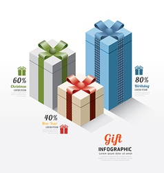 Modern gift box infographics elements design vector