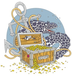 Moray and a treasure chest vector