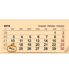 October 31 2016 Halloween Date of wall calendar vector