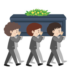 People carry coffin on sholders at funeral vector