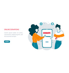 People make online donations flat landing page vector