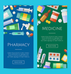 Pharmacy or medicines vertical banner vector